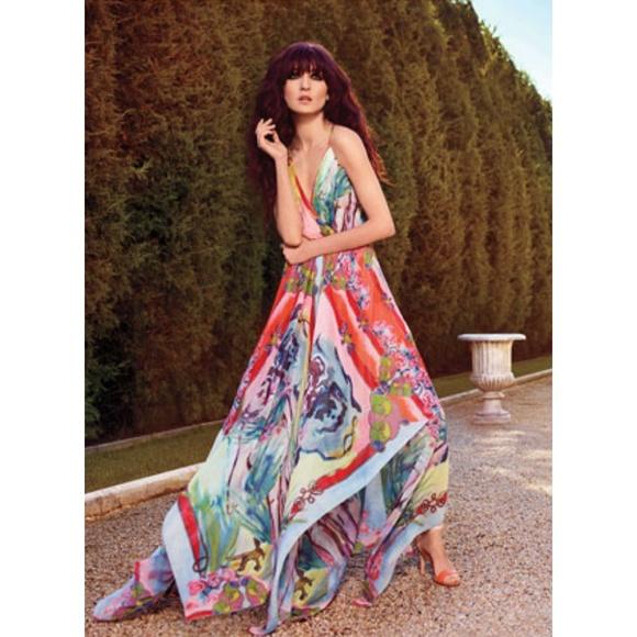 56c6e5cdf6 Alice + olivia orly handkerchief maxi dress